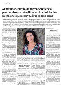 """Entrevista ao Jornal Correio dos Açores sobre o meu livro """"Manual para a Fertilidade, Gravidez e Amamentação"""""""